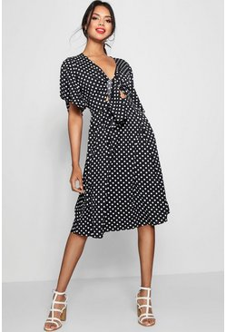 Knot Front Polka Dot Midi Dress, Black, Donna