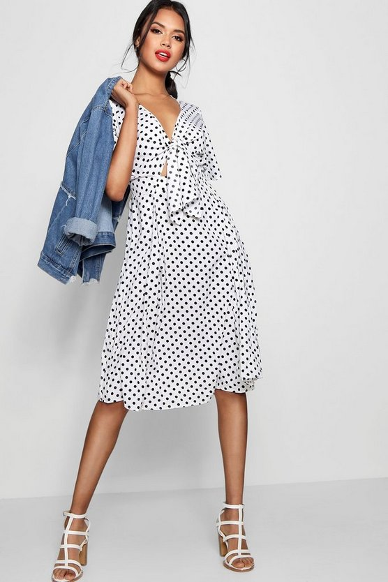 Knot Front Polka Dot Midi Dress