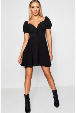 Womens Black Tie Front Woven Tea Dress