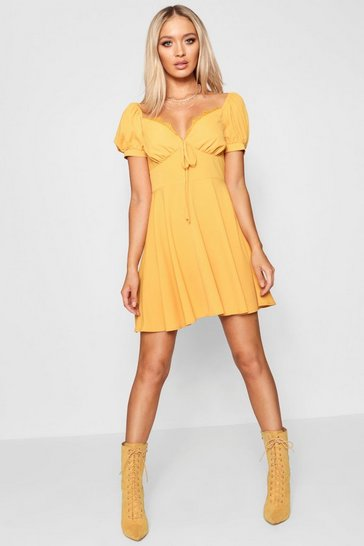 Womens Mustard Tie Front Woven Tea Dress