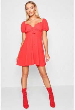 Red Tie Front Woven Tea Dress