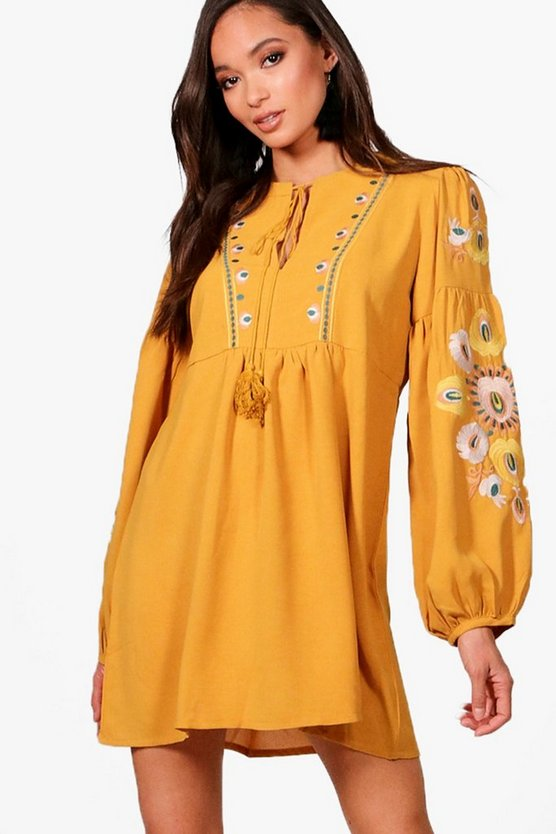 Heavily Embroidered Woven Smock Dress