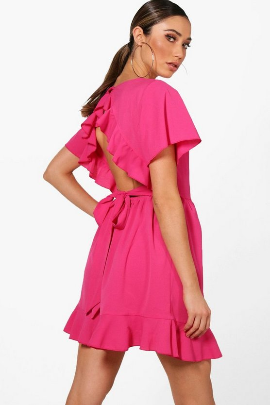 Womens Magenta Ruffle Open Back Tea Dress