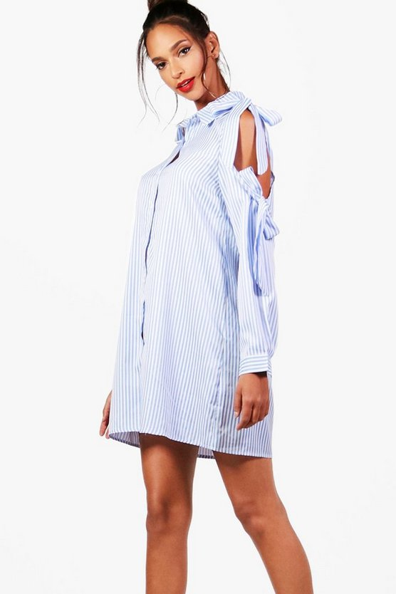 Bow Tie Cold Shoulder Shirt Dress