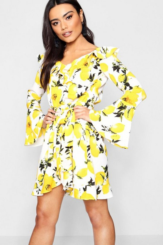 Flute Sleeve Off The Shoulder Tea Dress