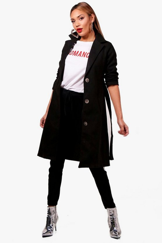 Button Up Belted Wool Look Coat, Black, MUJER