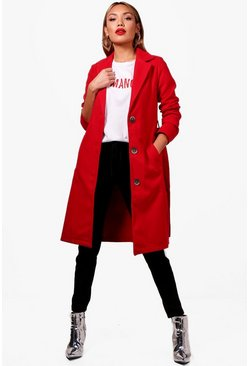 Button Up Belted Wool Look Coat, Red, Donna