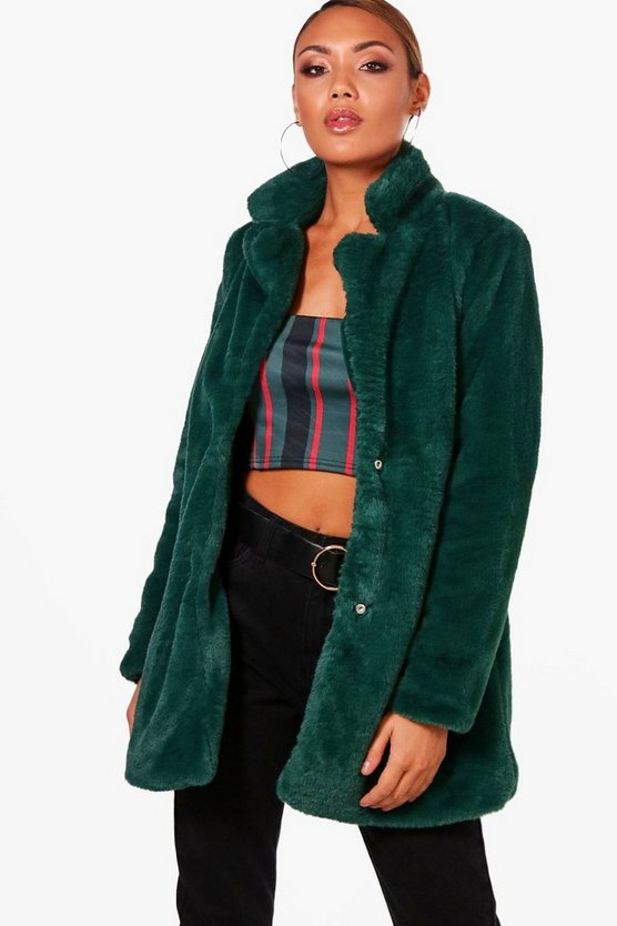 Jasmine Boutique Collar Faux Fur Coat