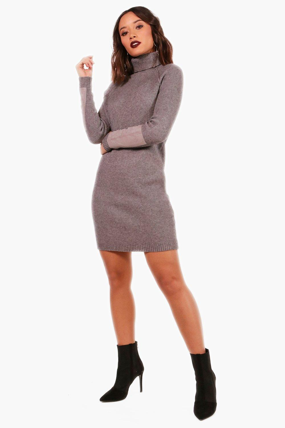 cheap for sale latest releases best wholesaler Heavy Knit Suede Patch Jumper Dress | Boohoo
