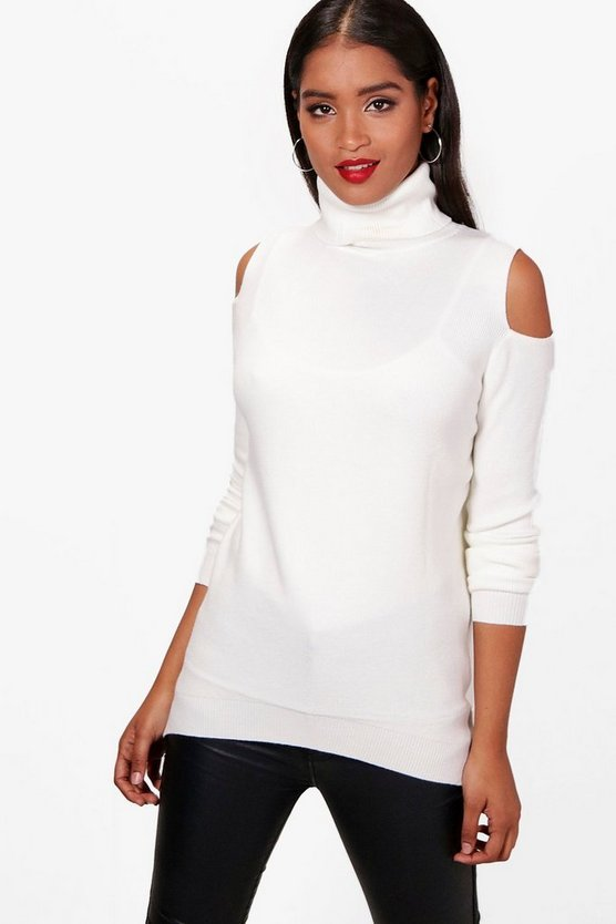 Ava Cold Shoulder Polo Neck Jumper
