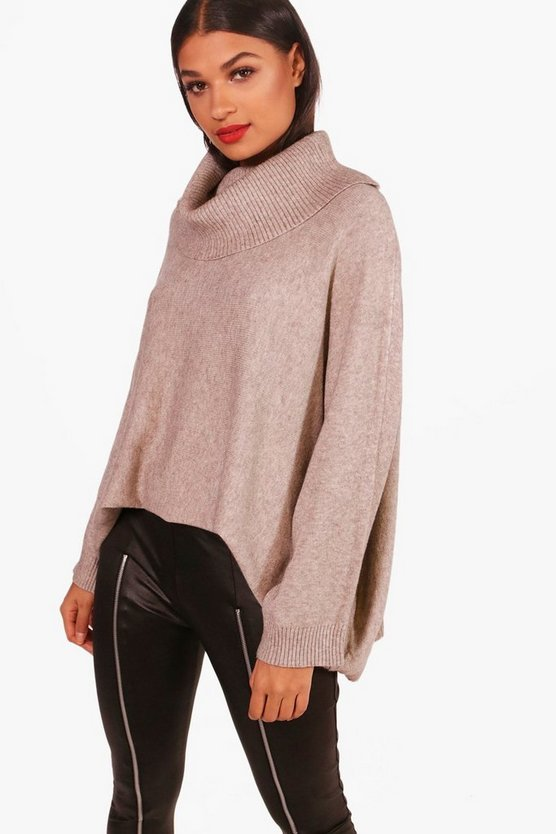 Womens Beige Faye Oversized Turtle Neck Jumper