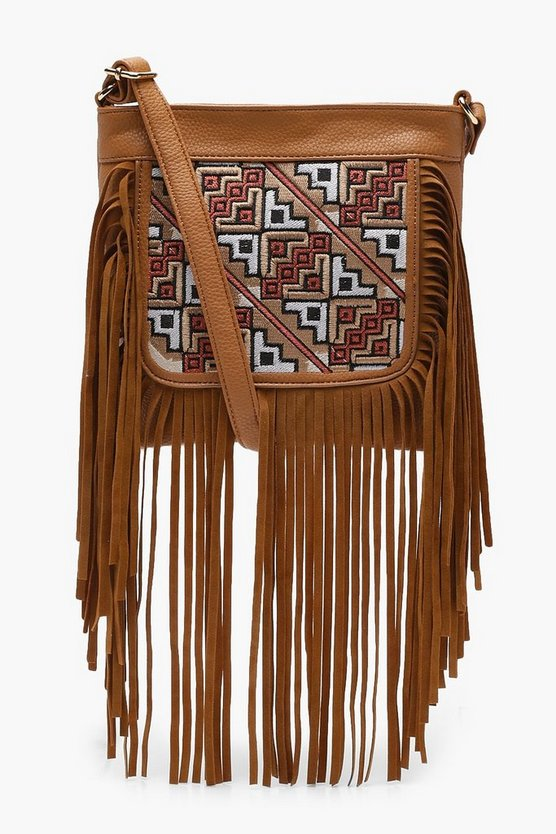 Mia Tapestry And Fringe Cross Body Bag