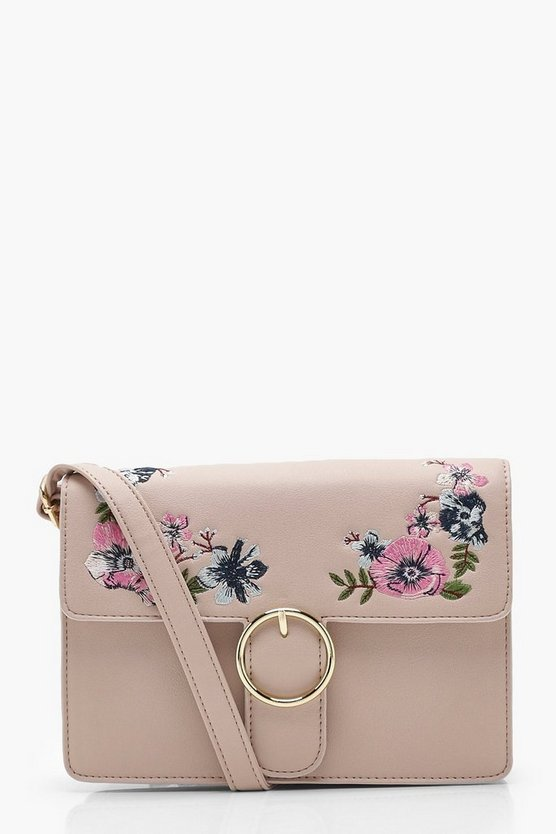 Mia Floral Embroidery Circle Fasten Cross Body
