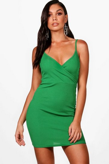 Womens Leaf green Ribbed Strappy Wrap Front Bodycon Dress