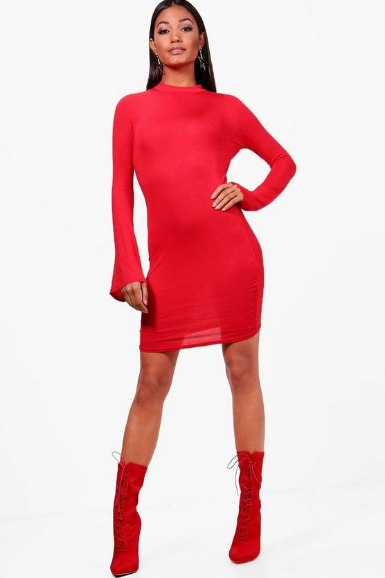 High Neck Flute Sleeve Bodycon Dress