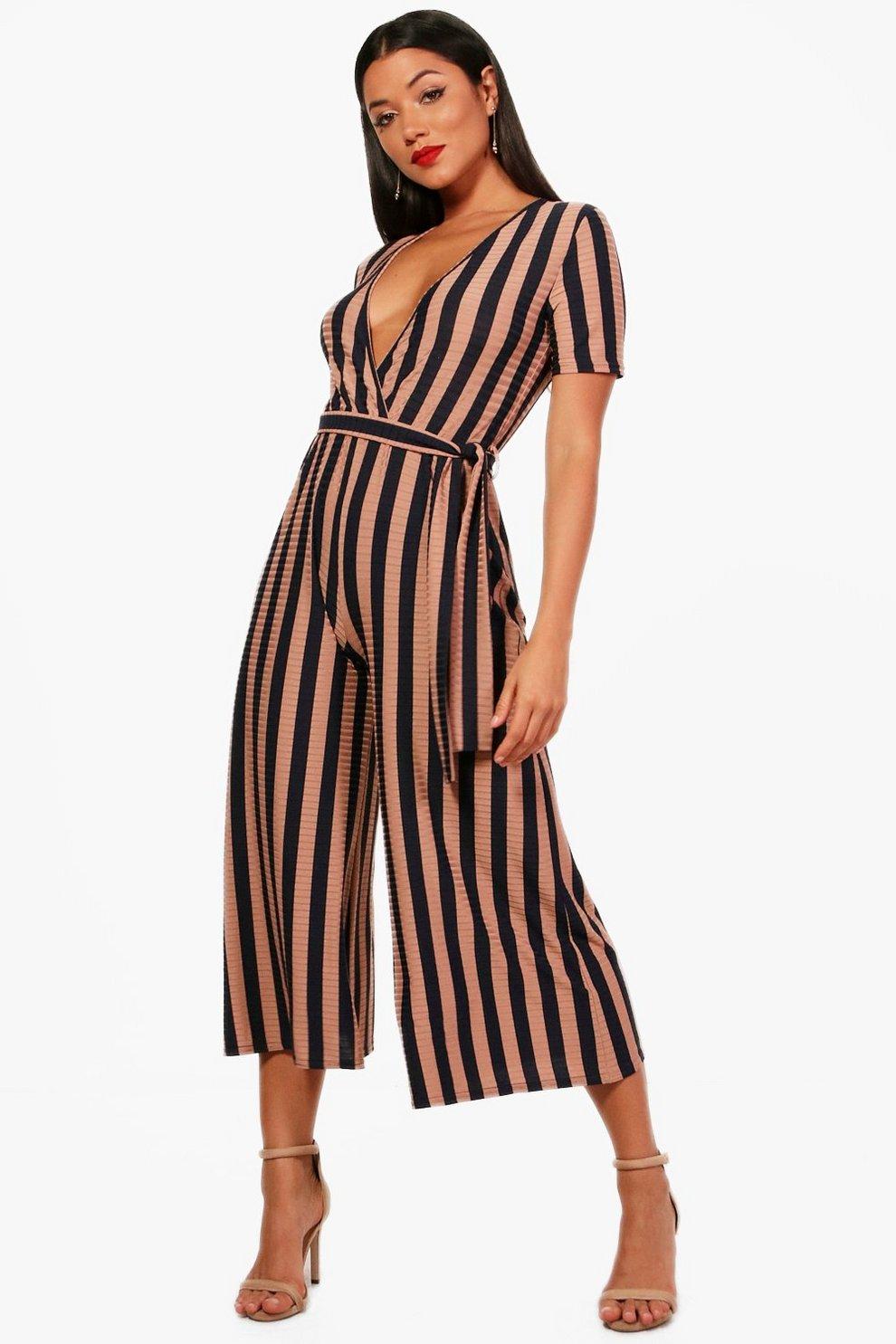 792835edfec4 Brie Wrap Front Stripe Culotte Jumpsuit