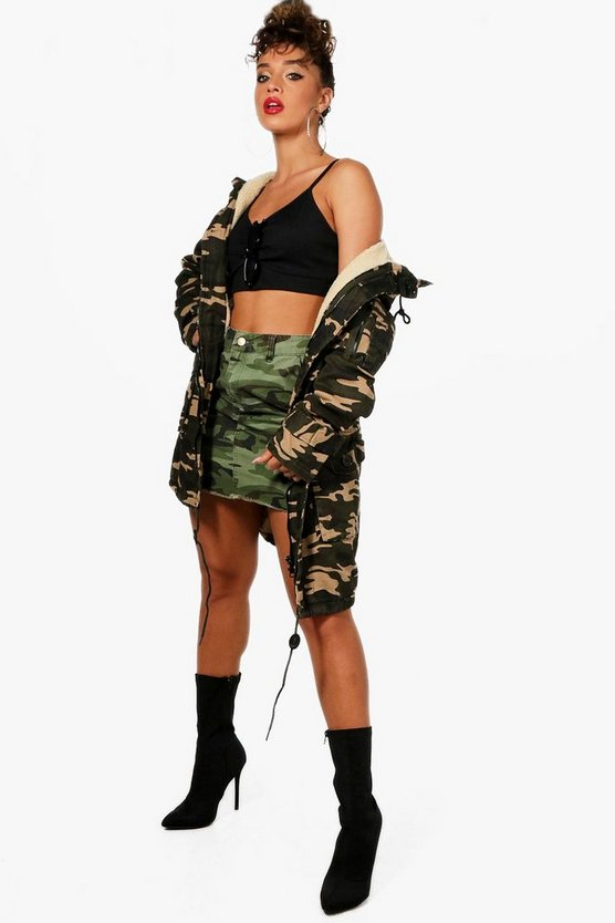 Womens Borg Lined Camo Denim Parka