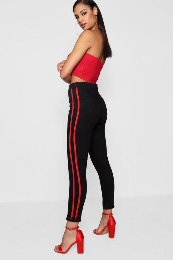 Womens Black Sport Stripe Tube Jeans