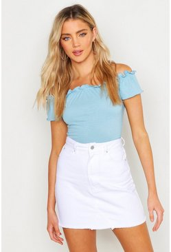 Womens White Denim Mini Skirt