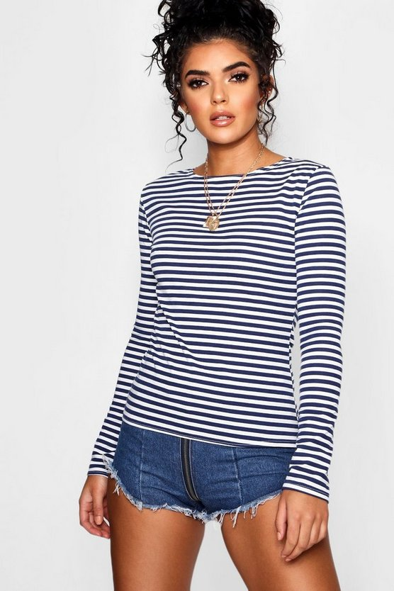 Stripe Long Sleeve Crew Neck Top