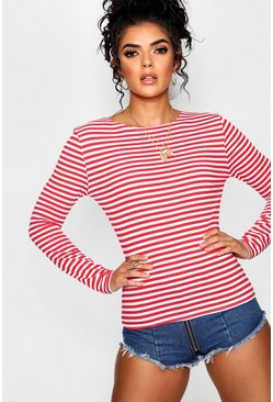 Stripe Long Sleeve Crew Neck Top, Красный, Женские