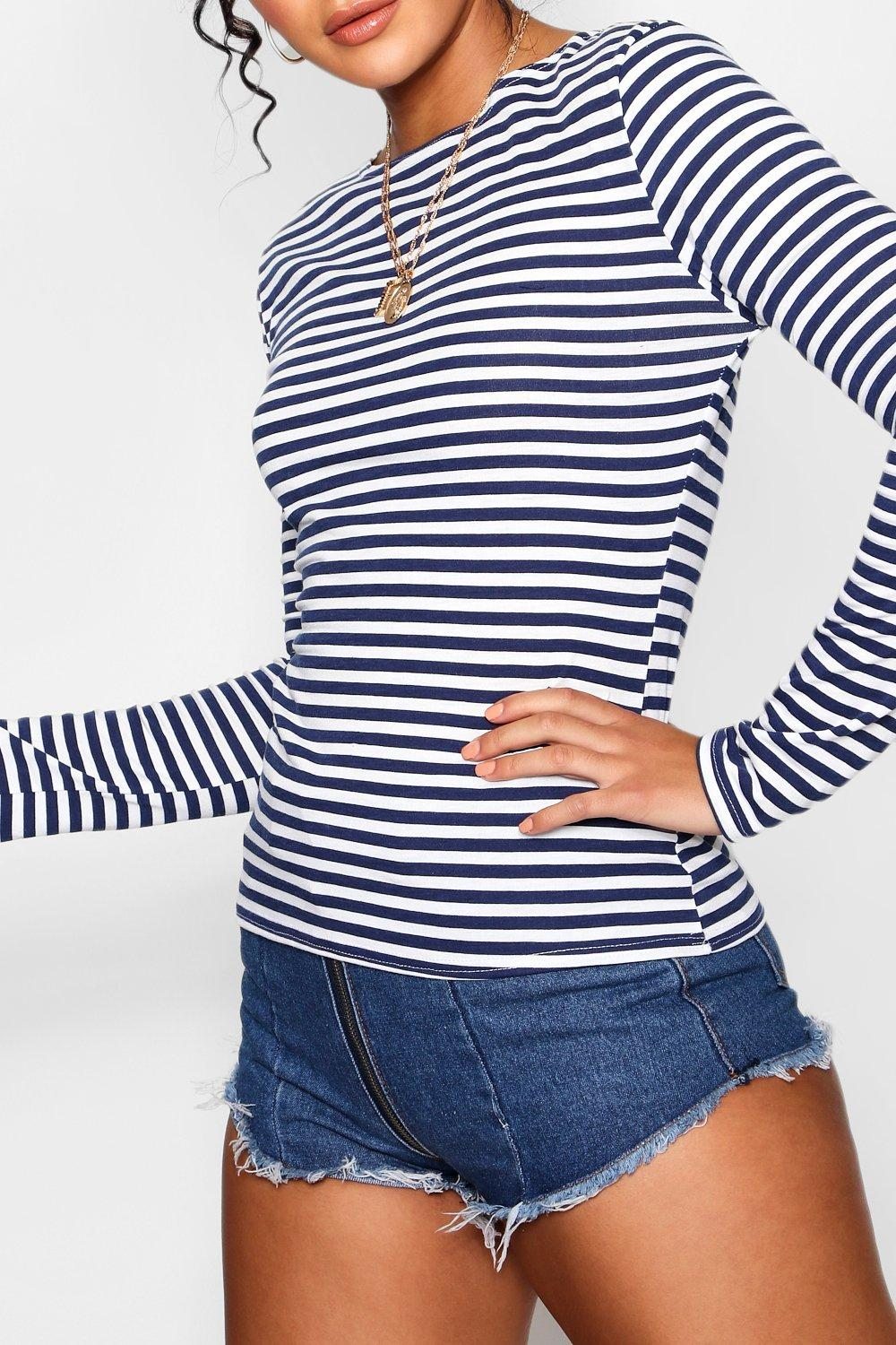 Sleeve Long Crew red Stripe Neck Top F4xBaqqw