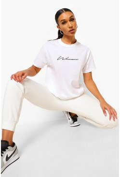 Woman Signature T-Shirt, White, Donna