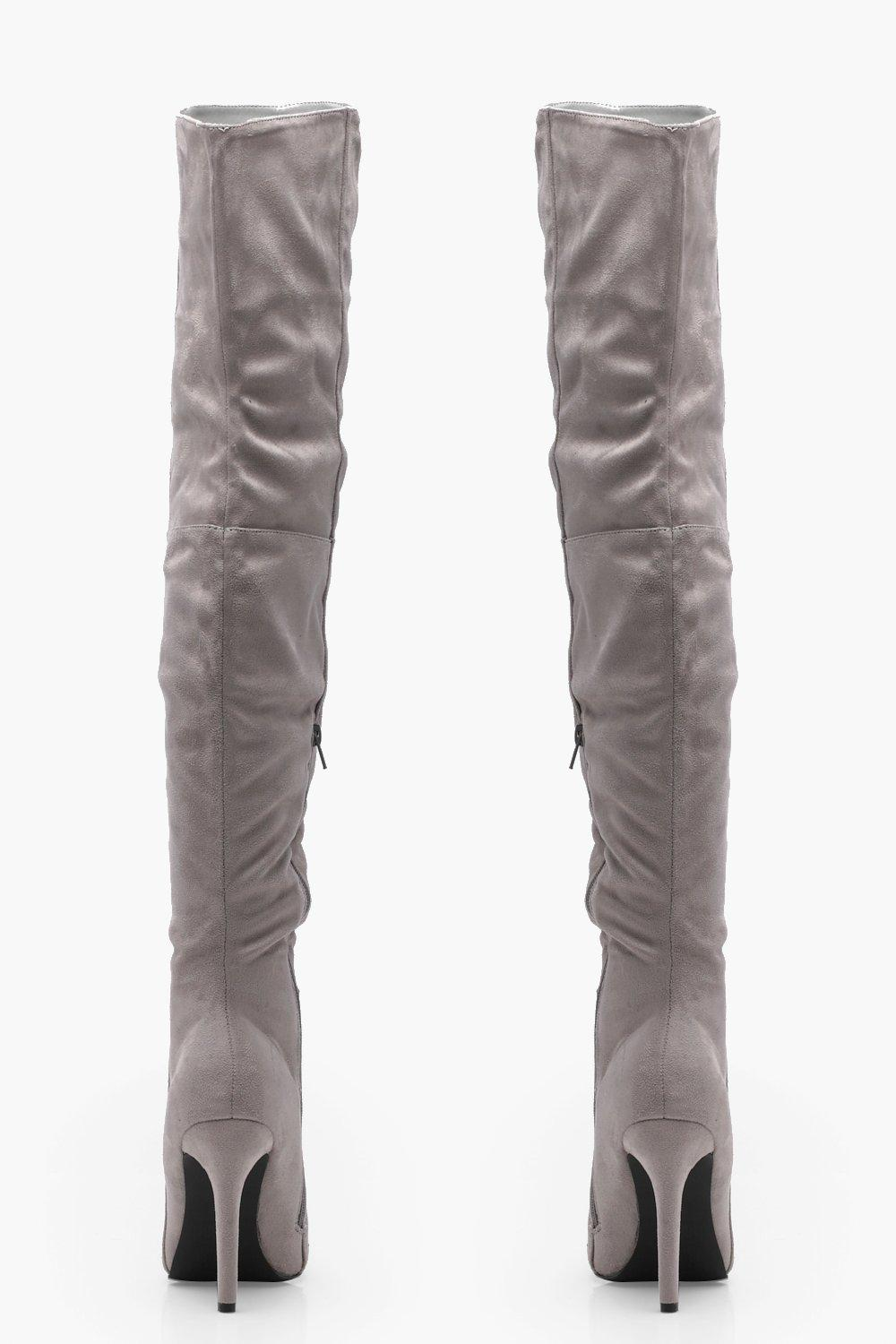 boohoo womens keira pointed toe heeled thigh high boot in