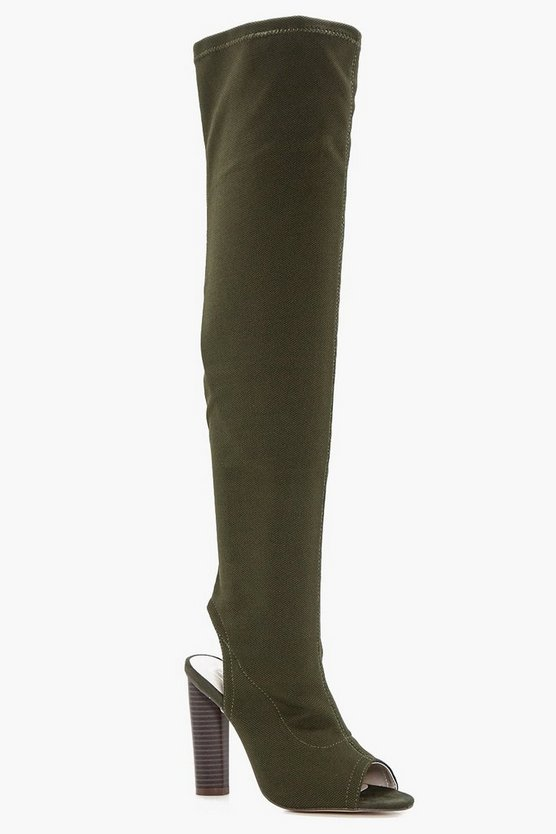 Khaki Peeptoe Over The Knee Boots