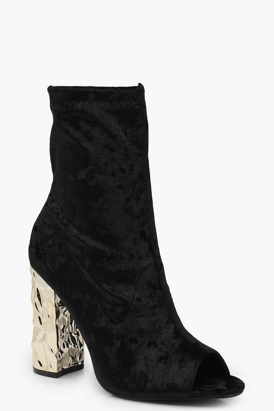Lola Peeptoe Velvet Feature Heel Shoe Boot