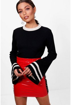 Womens Black Contrast Tipped Rib Knitted Top