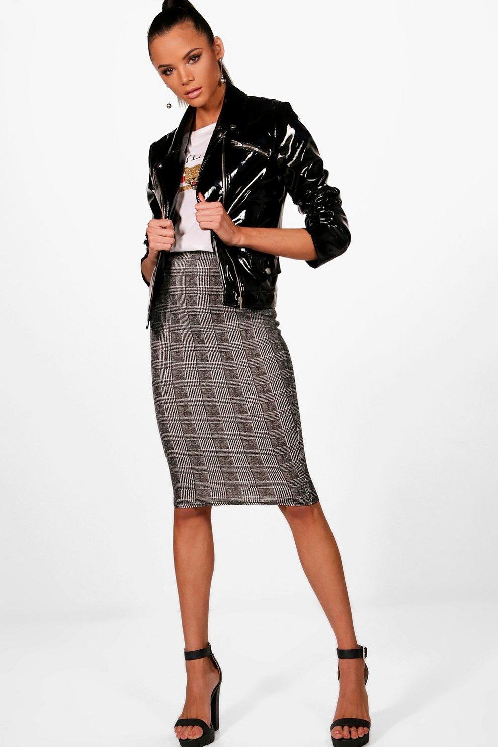f49a4473fbad Womens Black Monochrome Check Crepe Midi Skirt