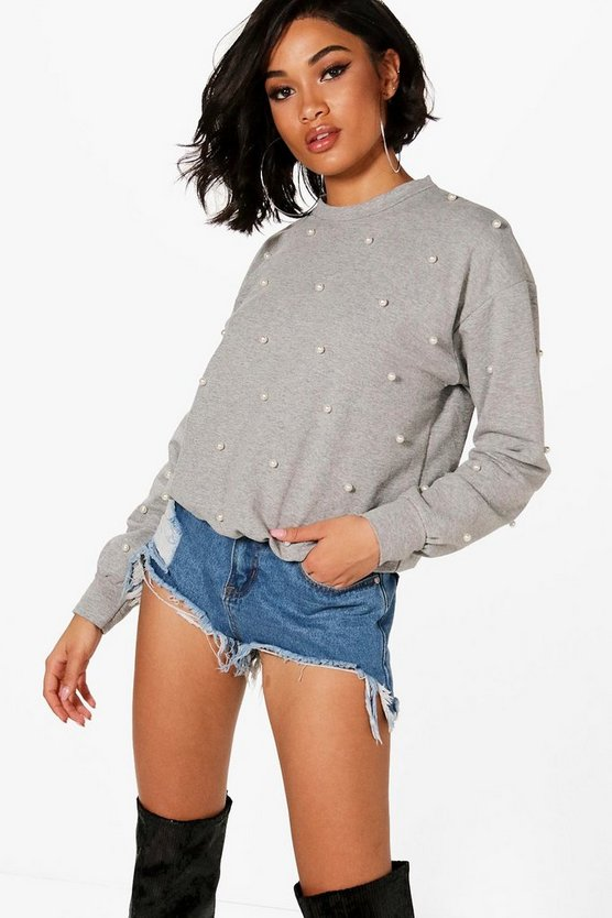 Megan Pearl Embellished Sweat