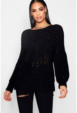 Black Chunky Cable Knit Balloon Sleeve Jumper