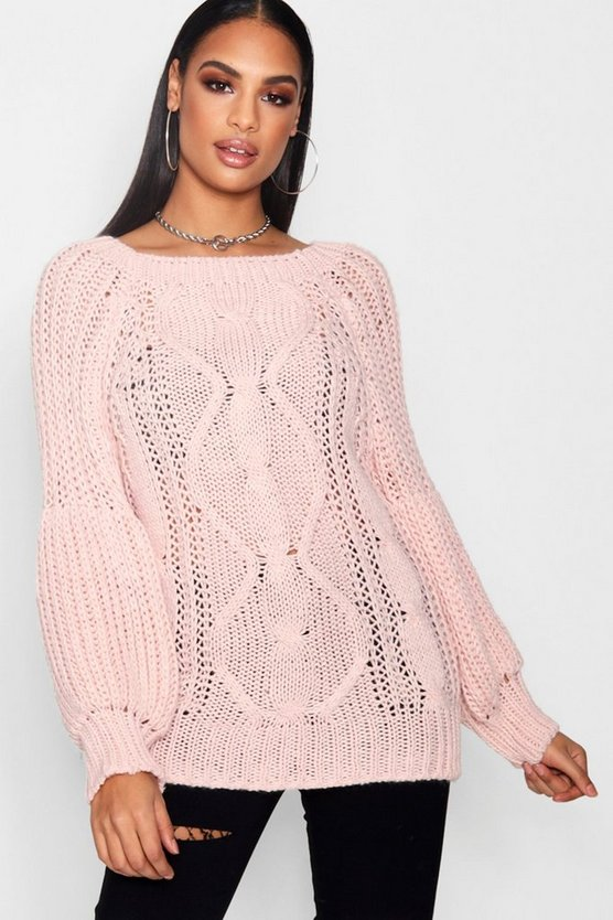 Chunky Cable Knit Balloon Sleeve Jumper