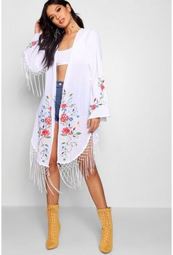 Womens White Embroidered Kimono With Fringing