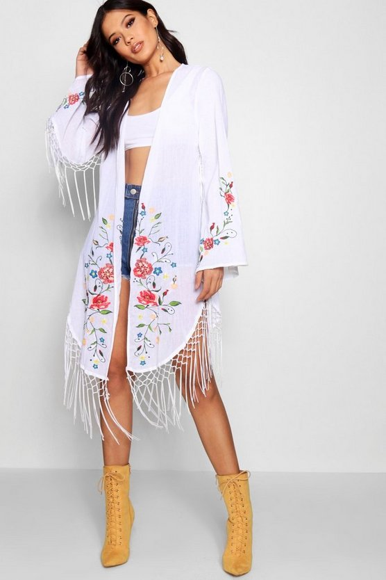 Embroidered Kimono With Fringing