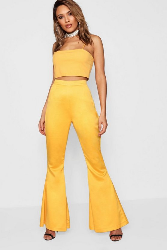 Womens Yellow Boutique Flare Trouser