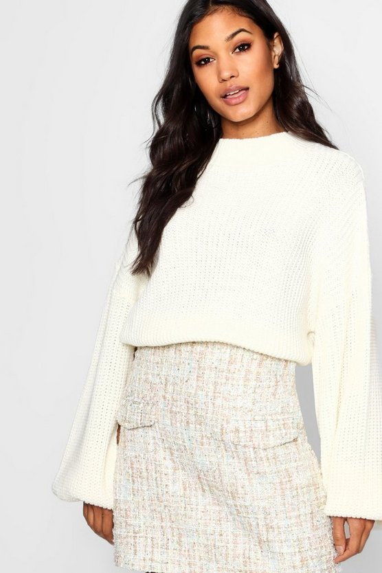Womens Cream Jade Boucle Mini Skirt