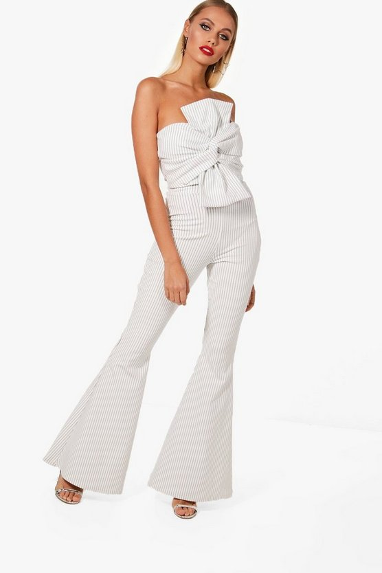 Womens White Premium Knot Bandeau and Trouser Set