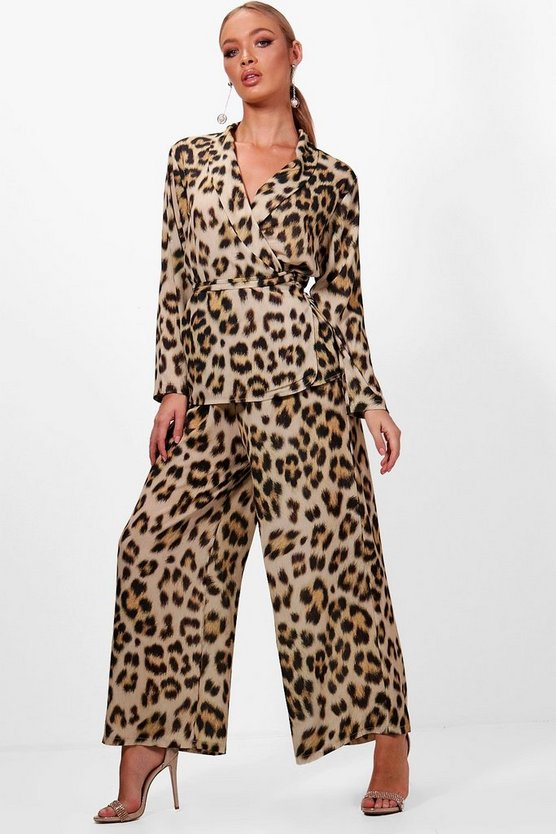 Womens Leopard Print Wide Leg Wrap Top Co-ord