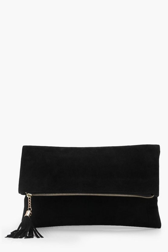 Black Suedette Fold Over Clutch Bag