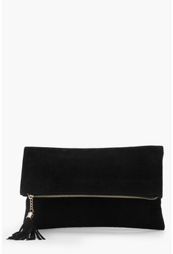 Womens Black Suedette Fold Over Clutch Bag