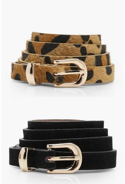 Womens Black 2 Pack Leopard And Suedette Belt