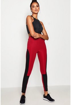 Womens Burgundy Daisy Fit Contour Panel Running Legging