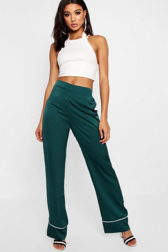 Contrast Trim Wide Leg Trouser