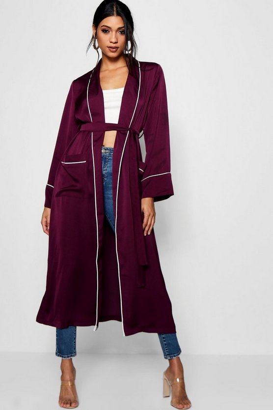 Contrast Trim Robe Duster