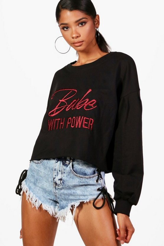 Womens Black Balloon Sleeve Slogan Embroidered Sweat