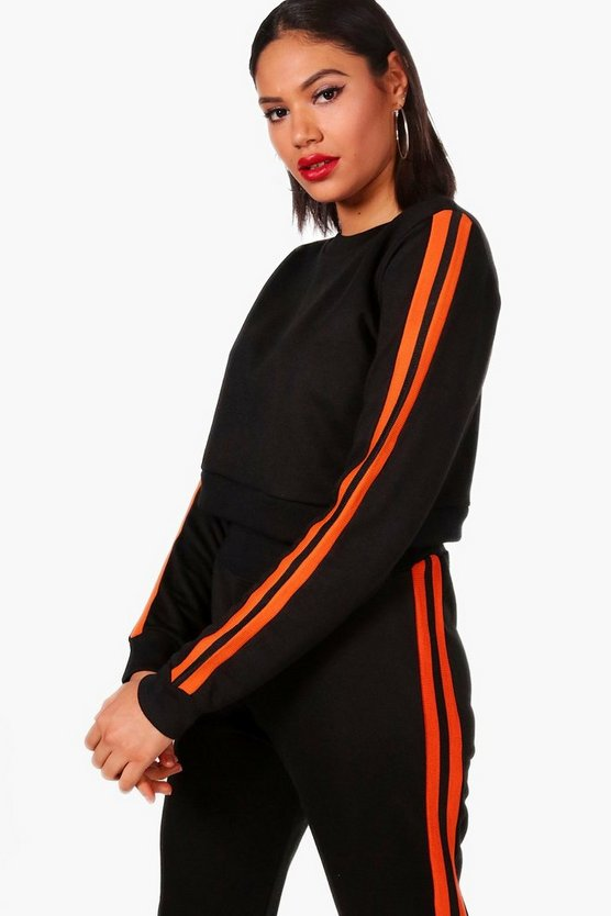 Lacey Athleisure Stripe Side Crew Sweat Top