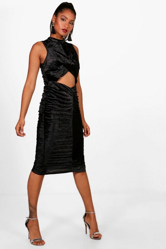 Velvet Wrap and Ruched Midi Dress